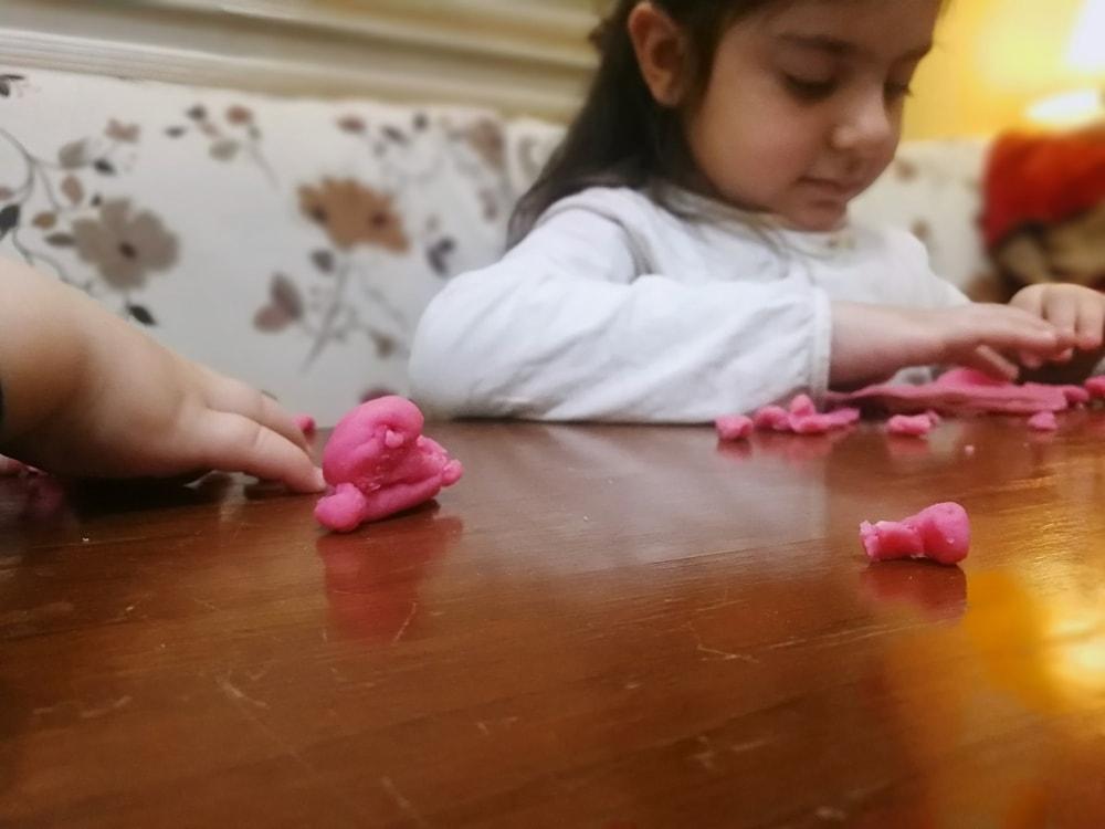 Homemade playdough in action