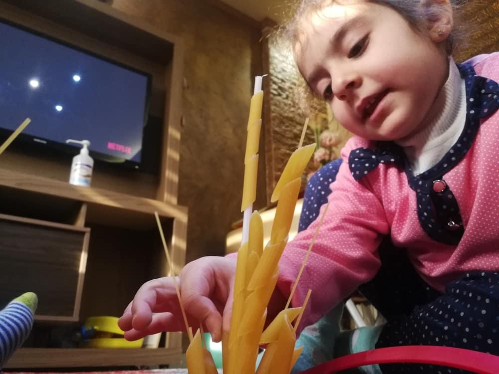 Kids activities Pasta towers